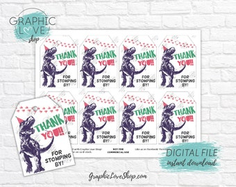 Digital File Funny Dinosaur Trex Party Hat Girl Birthday Printable Thank You Favor Tag | High Resolution JPG Instant Download Ready to Print