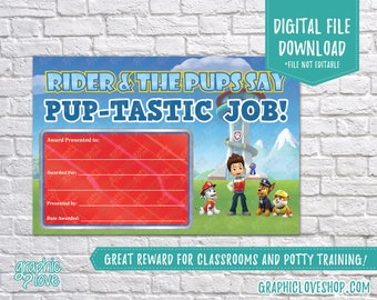 Digital 4x6 Paw Patrol Puptastic Job Reward Certificate | Nick Junior, Back to School | High Res JPG File, NOT Editable, Ready to Print
