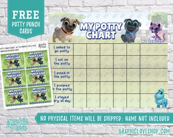 Digital Puppy Dog Pals Potty Chart, FREE Punch Cards | Disney Junior | High Res JPG File, Instant download, NOT Editable, Ready to Print