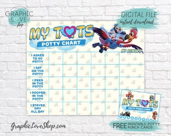 Digital T.O.T.S. Disney Junior Potty Training Chart, FREE Punch Cards | High Res JPG File, Instant download, NOT Editable, Ready to Print
