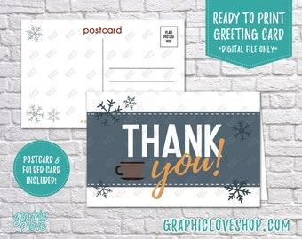 Digital 4x6 Retro Winter Snowflakes and Mug Thank You Card, Folded & Postcard | High Res JPG Files, Instant Download, Ready to Print