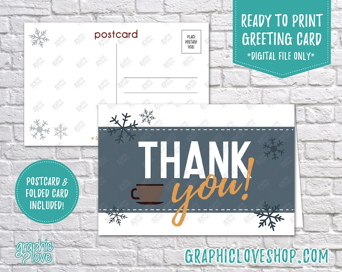 Featured listing image: Digital 4x6 Retro Winter Snowflakes and Mug Thank You Card, Folded & Postcard | High Res JPG Files, Instant Download, Ready to Print