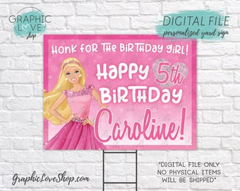 Digital File 18x24 Pink Princess Barbie Personalized Happy Birthday Yard Sign, Any Age | Printable High Resolution JPG, Made To Order