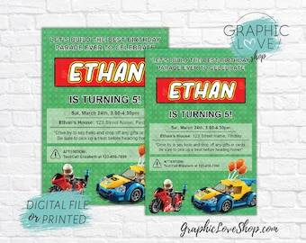 Personalized Build the Best Birthday Parade Ever Invitation, Any Age | 4x6 or 5x7, Digital JPG File or Printed, Envelopes, FREE US Shipping