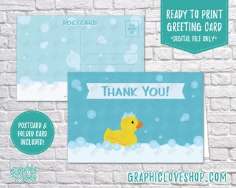 Digital 4x6 Rubber Duck Bubbles Thank You Card, Folded & Postcard Included | High Resolution JPG Files, Instant Download, Ready to Print