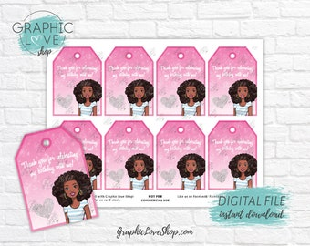 Digital Pink Sparkle African American Barbie Printable Birthday Thank You Tags | High Resolution JPG File, Instant Download, Ready to Print
