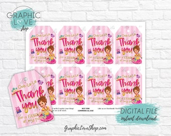 Digital Fancy Nancy Clancy Pink Gold Printable Birthday Thank You Tags | High Resolution JPG File, Instant Download, Ready to Print