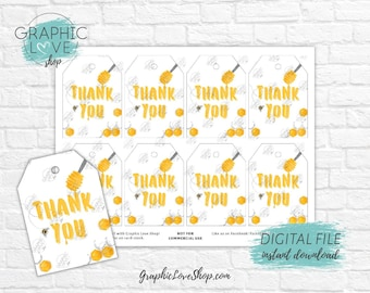 Digital Sweet Honey Bee Printable Thank You Tags | Birthday, Baby Shower | High Resolution JPG File, Instant Download, Ready to Print