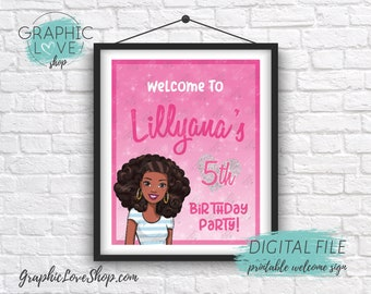 Digital 8x10 Pink Sparkle African American Barbie Personalized Birthday Party Welcome Sign |Printable High Resolution JPG File Made To Order