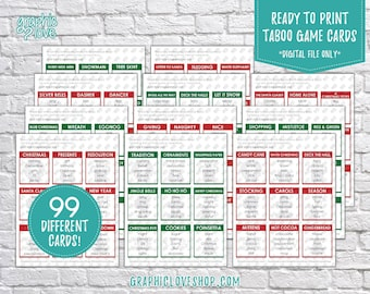 Printable Christmas/Winter Themed Taboo Game with 99 different Cards | PDF File, Instant Download, Ready to Print