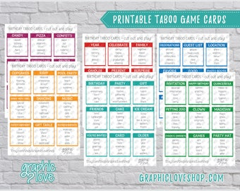 Digital Birthday Party Game, 54 Taboo Cards   Kids Game, Sleepover, Surprise   PDF File, Instant download, NOT Editable, Ready to Print