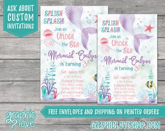 Personalized Watercolor Under the Sea Mermaid Birthday Invitation for Any Age | 4x6 or 5x7, Digital JPG File or Printed, FREE US Shipping