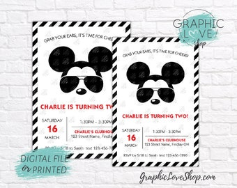 Personalized Modern Mickey Glasses Black White Red Birthday Invitation, Any Age | 4x6 or 5x7 Digital or Printed, Envelopes, FREE US Shipping