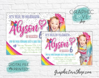 Personalized JoJo Siwa Girly Rainbow Birthday Party Invitation, Any Age | 4x6 or 5x7 Digital File or Printed, FREE US Shipping & Envelopes