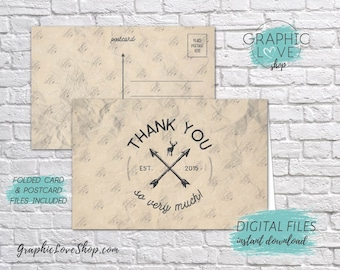 Digital 4x6 Camp Rustic Adventure Thank You Card, Folded & Postcard Included | High Resolution JPG File, Instant Download, Ready to Print