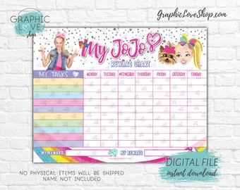 Digital File JoJo Siwa Girly Big Bow Blank Printable Reward Chart | High Resolution JPG, Instant download NOT Editable, Ready to Print
