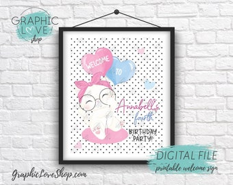 Digital 8x10 Cute White Kitten Polka Dots Personalized Birthday Party Welcome Sign   Printable High Resolution JPG File, Made To Order