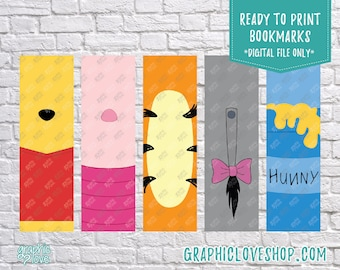 Printable Winnie the Pooh Digital Bookmarks, Set of 5 | Tigger, Piglet, Eeyore | JPG File, Instant download, Ready to Print