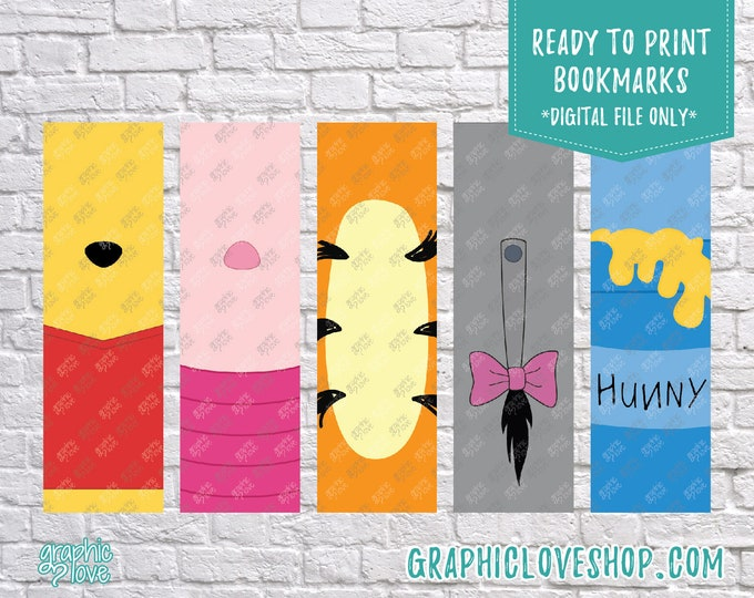 Featured listing image: Printable Winnie the Pooh Digital Bookmarks, Set of 5 | Tigger, Piglet, Eeyore | JPG File, Instant download, Ready to Print