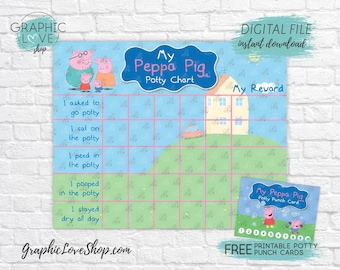 Digital Peppa Pig Potty Training Chart, FREE Punch Cards | Nick Junior | High Res JPG Files, Instant download, NOT Editable, Ready to Print