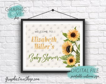 Digital 8x10 Watercolor Sunflowers Personalized Baby Shower Welcome Sign, Gender Neutral | Printable High Resolution JPG File, Made To Order