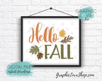 Digital File 8x10 Hello Fall Autumn Leaves Art Print, Warm Autumn Colors | High Resolution 300dpi JPG File, Instant Download, Ready to Print