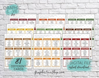 Printable Thanksgiving and Fall Themed Taboo Game 81 Cards | Holiday, Autumn, Football, Pumpkin | PDF File, Instant Download, Ready to Print