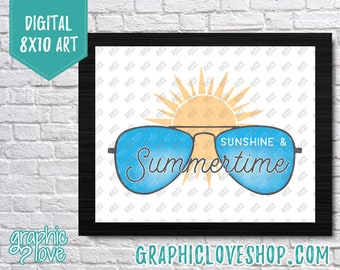 Printable Digital 8x10 Sunshine and Summertime Sunshine Art Print | High Resolution JPG File, Instant Download, Ready to Print