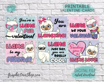 Digital File Girly Llama Printable Valentine's Day Cards, 6 different designs | High Resolution JPG File, Instant Download, Ready to Print