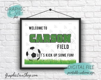 Digital 8x10 Soccer Ball Name Field Personalized Birthday Party Welcome Sign, with Age | Printable High Resolution JPG File, Made To Order