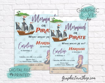 Personalized Mermaid and Pirate Joint Boy Girl Birthday Invitation for Any Age | 4x6 or 5x7, Digital JPG File or Printed, FREE US Shipping