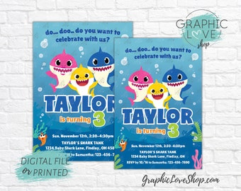 Baby Shark Doo doo Under the Sea Personalized Birthday Party Invitation | 4x6 or 5x7 Digital JPG File or Printed, FREE US Shipping Envelopes
