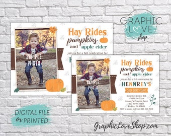 Fall Hayrides Pumpkins & Apple Cider Personalized Photo Birthday Invitation, Any Age | 4x6 or 5x7, Digital File or Printed, FREE US Shipping
