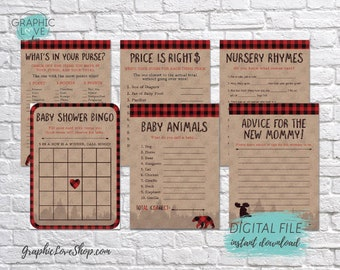 Digital 5x7 Lumberjack Theme Baby Boy Shower Game Pack & Advice for Mom Card | Printable PDF File, Instant Download, Ready to Print