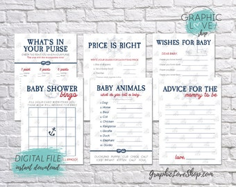 Digital 5x7 Vintage Nautical Theme Baby Shower Game Pack, Wishes for Baby, Advice for Mom | Printable PDF, Instant Download, Ready to Print