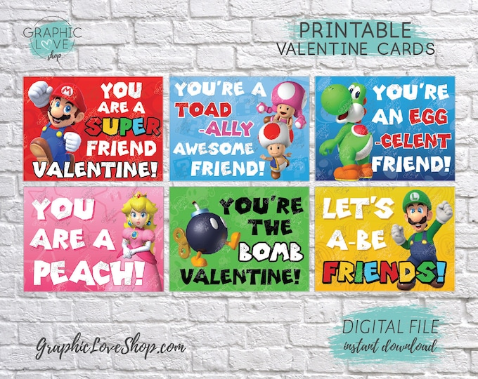 Featured listing image: Digital File Super Mario Printable Valentine's Day Cards, 6 different designs | High Resolution JPG File, Instant Download, Ready to Print