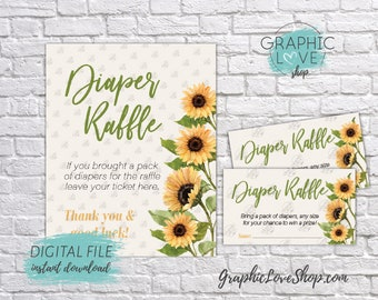 Digital Watercolor Sunflowers Baby Shower Diaper Raffle Sign and Card Invitation Insert | PDF File, Instant Download, Ready to Print