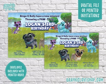 Personalized Puppy Dog Pals Birthday Invitation, Any Age, Disney Junior | 4x6 or 5x7, Digital File or Printed, FREE US Shipping & Envelopes