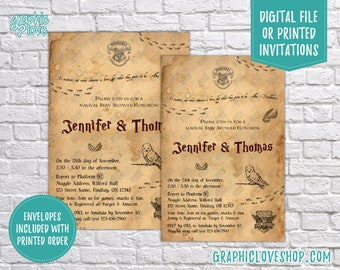 Personalized Harry Potter, Hogwarts Letter Baby Shower Invitation Gender Neutral | 4x6 or 5x7, Digital JPG File or Printed, FREE US Shipping