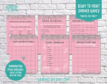 Digital Set of 6 5x7 Pink Silver Glitter Baby Shower Games & Advice for Mom Card, Coordinating | PDF File, Instant Download, Ready to Print