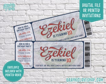 """Personalized Baseball Ticket Birthday Invitation 5.5""""x2"""", for Any Age 
