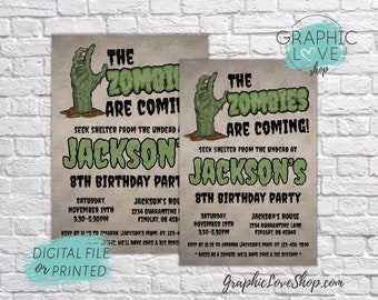 Zombie Apocalypse Creepy Hand Personalized Birthday Invitation Any Age | 4x6 or 5x7 Digital JPG File or Printed FREE US Shipping & Envelopes