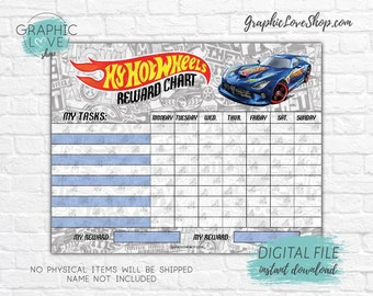 Digital Hot Wheels Car Printable Reward Chart with Blank Tasks | High Resolution JPG File, Instant download NOT Editable, Ready to Print