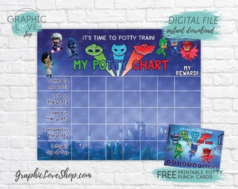 Digital Pj Masks, Disney Junior Potty Training Chart, FREE Punch Cards | High Res JPG Files, Instant download, NOT Editable, Ready to Print