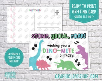 Digital 4x6 Girls Dino-mite Dinosaur Birthday Card, Folded & Postcard included   High Res JPG File, Instant Download, Ready to Print
