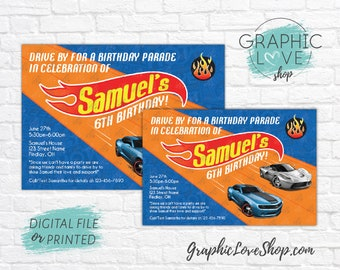 Personalized Hot Wheels Race Track Drive By Birthday Invitation, Any Age | 4x6 or 5x7, Digital File or Printed, FREE US Shipping & Envelopes