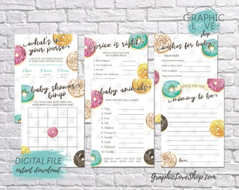 Digital 5x7 Watercolor Donut Theme Baby Shower Game Pack, Wishes for Baby, Advice for Mom | Printable PDF, Instant Download, Ready to Print