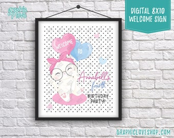 Digital 8x10 Cute White Kitten Polka Dots Personalized Birthday Party Welcome Sign | Printable High Resolution JPG File, Made To Order