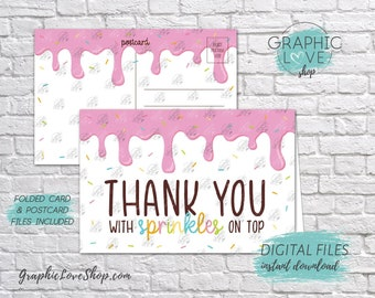 Digital 4x6 Sprinkles Donut / Ice Cream Thank You Card, Folded & Postcard | 300dpi JPG Files, Instant Download, NOT Editable, Ready to Print