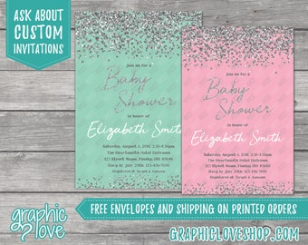 Personalized Mint or Pink, Silver Glitter Confetti Baby Shower Invitation | 4x6 or 5x7, Digital or Printed, FREE US Shipping & Envelopes